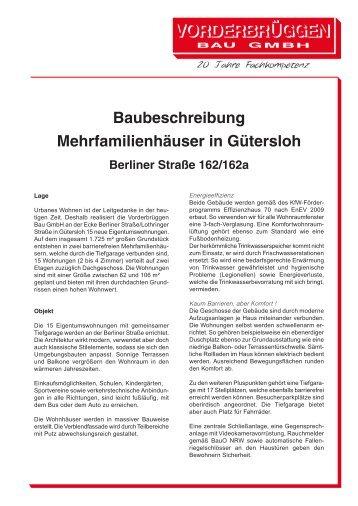 Baubeschreibung Mehrfamilienhäuser in Gütersloh - Vorderbrüggen ...