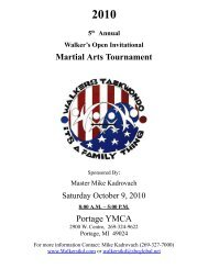 Martial Arts Tournament Portage YMCA - Walker's Tae Kwon Do