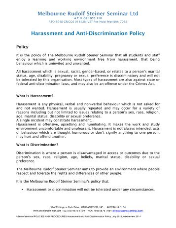 Sexual harassment is a form of unlawful employment discrimination under Title VII of the Civil Rights Act of and is prohibited under [Company Name]'s anti-harassment policy.