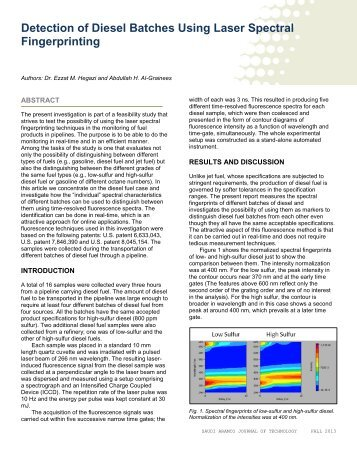 Detection of Diesel Batches Using Laser Spectral ... - Saudi Aramco