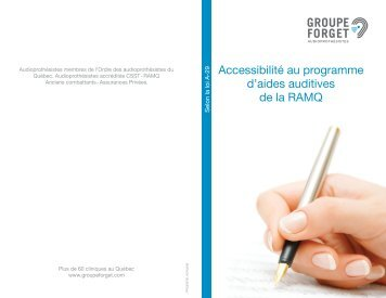 Accessibilité au programme d'aides auditives de la ... - Groupe Forget