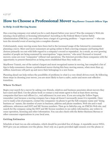 How to Choose a Professional Mover - Michigan Association of ...