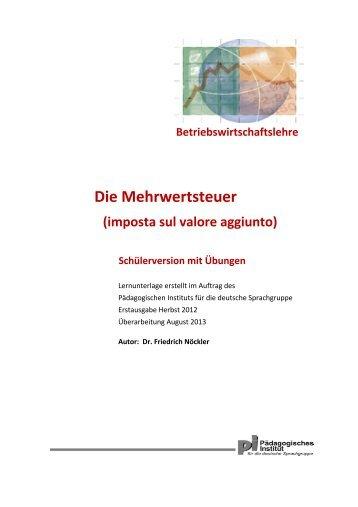 Mehrwertsteuer - Schule und Kindergarten in Südtirol