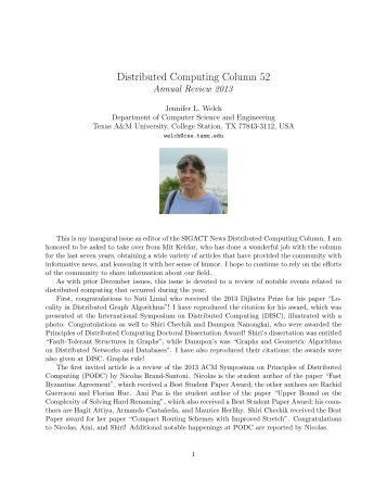 Distributed Computing Column 52 - Parasol Lab - Texas A&M ...