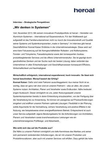 """Wir denken in Systemen"" - Heroal"