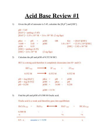 Worksheet 21 Acidbase Calculations 1 Start With 10000 Ml Of A