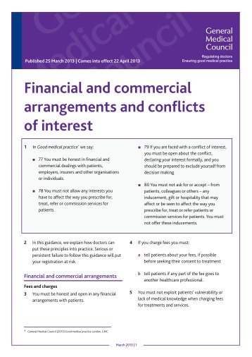 Financial and commercial arrangements and conflicts of interest