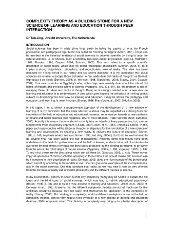 complexity theory as a building stone for a new science ... - UN Virtual