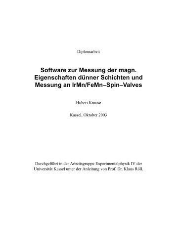 Software zur Messung der magn. Eigenschaften dünner Schichten ...