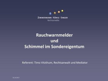 """18.11.2013 """"Aktuelle Rechtsprechung zu Rauchwarnmeldern und ..."""