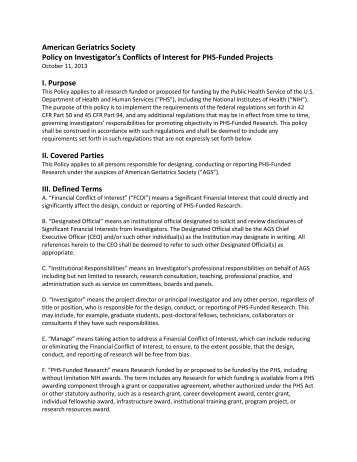 American Geriatrics Society Policy on Investigator's Conflicts of ...