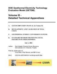 DOE Geothermal Electricity Technology Evaluation Model ... - EERE