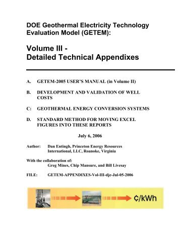 DOE Geothermal Electricity Technology Evaluation Model ... - EERE