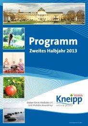 Veranstaltungsprogramm für das 2. Halbjahr 2013 - KNEIPP ...