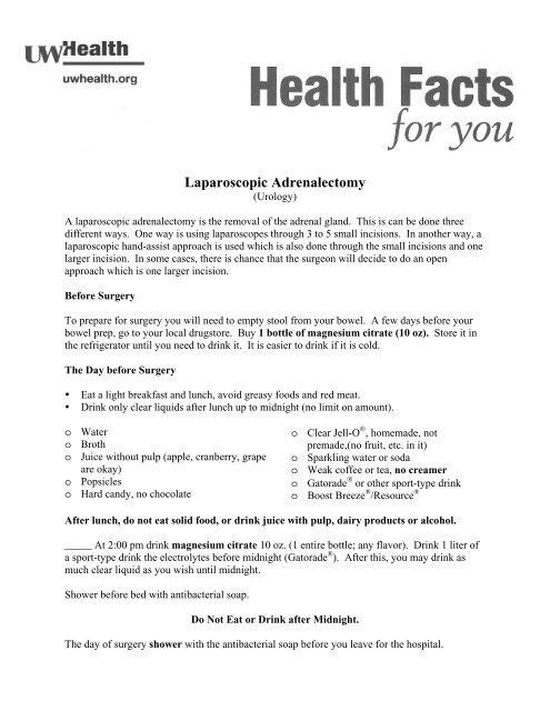 Laparoscopic Adrenalectomy - UW Health