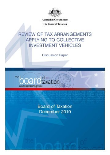Review of tax arrangements applying to collective investment vehicles