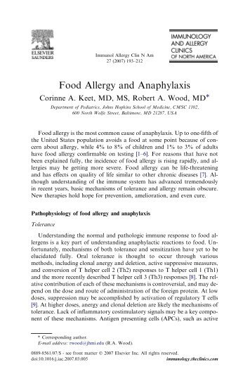 Food Allergy and Anaphylaxis - American Academy of Pediatrics