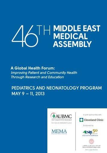 pediatrics and neonatology program may 9 – 11, 2013 - MEMA