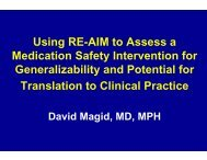 Using RE-AIM to Assess a Medication Safety Intervention for ...