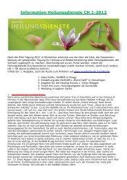 Information Heilungsdienste CH 1-2012 - Wunder heute
