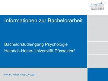 Folien der Informationsveranstaltung - Psychologie - Heinrich-Heine ...