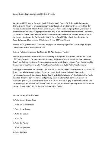Saxony Dream Team gewinnt das RBB 3 vs. 3 Turnier Am 08 ... - DRS