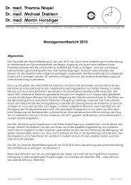 Managementbericht 2010 - Praxis Dr.  Nagel, Dr. Dietlein & Dr ...