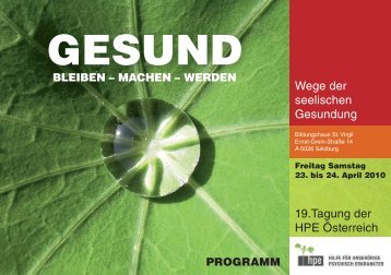 Tagung 2010 Programm [661 kB] - HPE