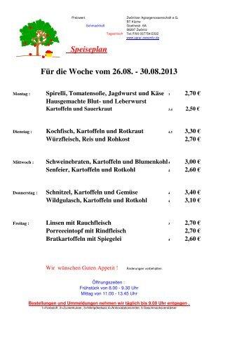 zu unserem aktuellen Speiseplan - Agrargenossenschaft Zwönitz eG