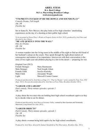 Playwriting Resume - Ariel Stess