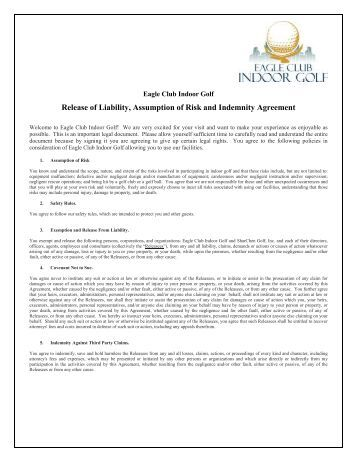 Liability Waiver & Release Form - Hayward Sports Center