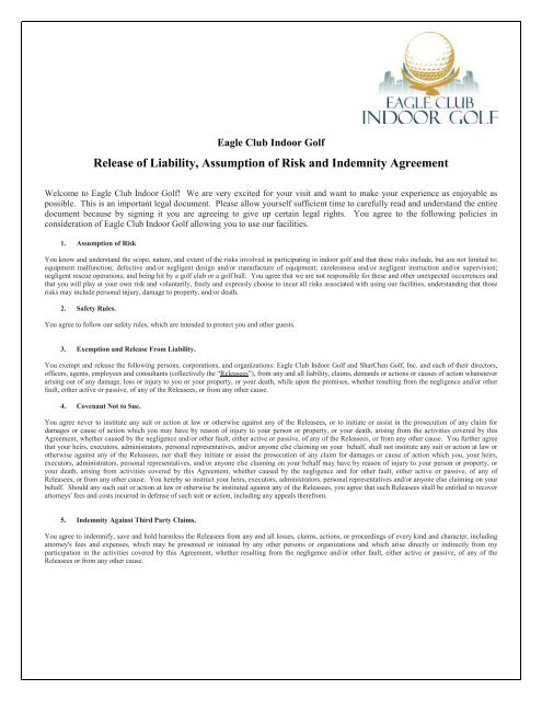 General Waiver Of Liability Rental Agreement Form Eagle