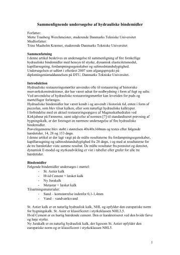 Sammenlignende undersøgelse af hydrauliske bindemidler