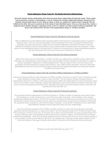 Essay On Orphans Thesis Statement  Essay Topic  The Needs Served By  Essays On Huckleberry Finn also Growing Population Essay Thesis Statements And Topic Sentences  Bgawebsitesorg Film Essay Topics