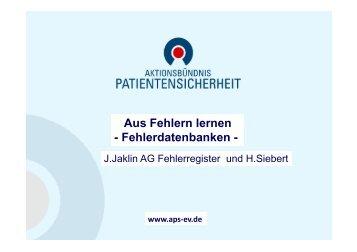 Aus Fehlern lernen - Fehlerdatenbanken - - MDK Bayern