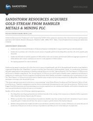 sandstorm resources acquires gold stream from rambler metals ...