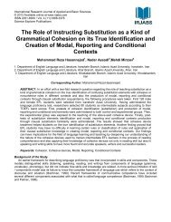 The Role of Instructing Substitution as a Kind of ... - irjabs.com