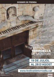 Dossier de premsa - Festival de Torroella de Montgrí