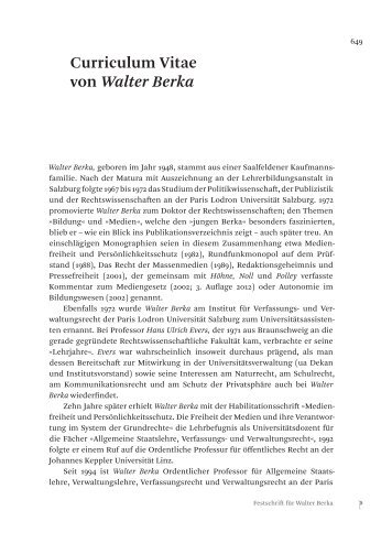 Curriculum Vitae von Walter Berka - Jan Sramek Verlag