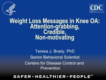 Weight Loss Messages in Knee OA - Osteoarthritis Action Alliance