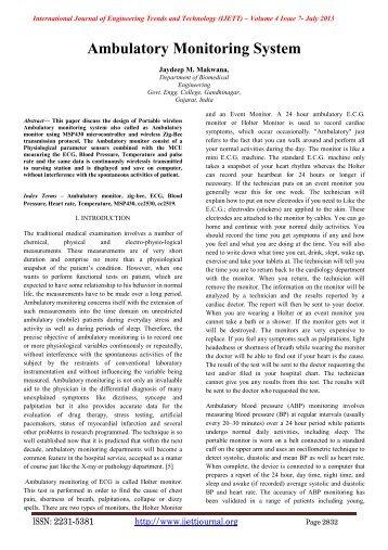 Ambulatory Monitoring System - IJETT-International Journal of ...