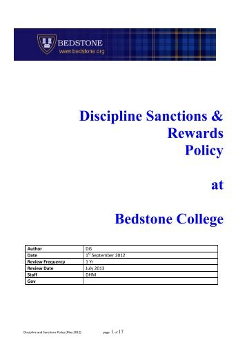 Discipline, Sanctions and Rewards Policy - Bedstone College