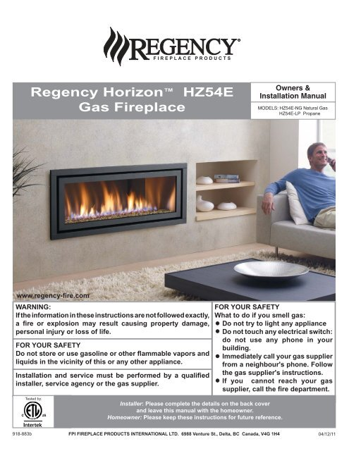 Installation Regency Fireplace Products