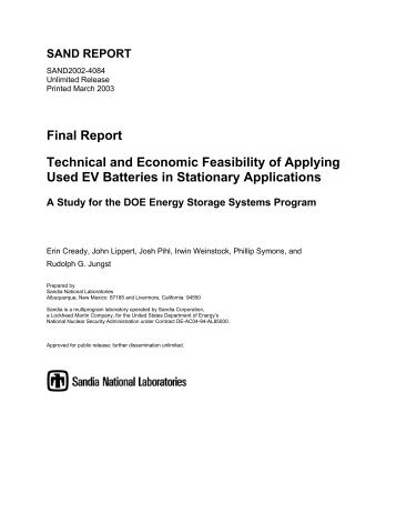 Technical and Economic Feasibility of Applying Used EV Batteries