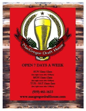 OPEN 7 DAYS A WEEK - MacGregor Draft House