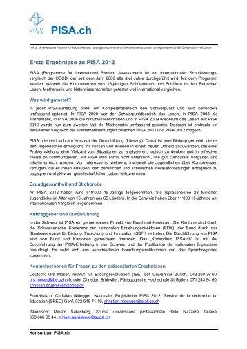 Erste Ergebnisse zu PISA 2012 - Staatssekretariat für Bildung ...