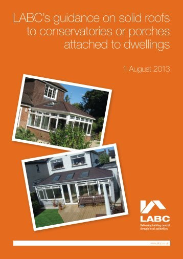 LABC's guidance on solid roofs to conservatories or porches ...