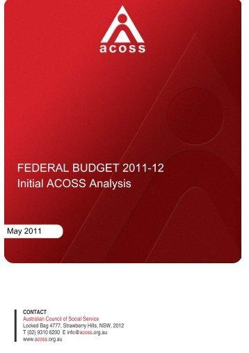 Federal budget 2011-12: Initial ACOSS analysis (PDF) - Australian ...