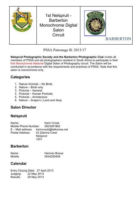 1st Nelspruit - Barberton Monochrome Digital     - PG Camera