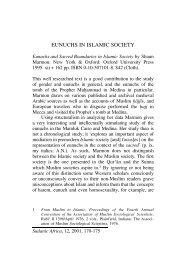 EUNUCHS IN ISLAMIC SOCIETY